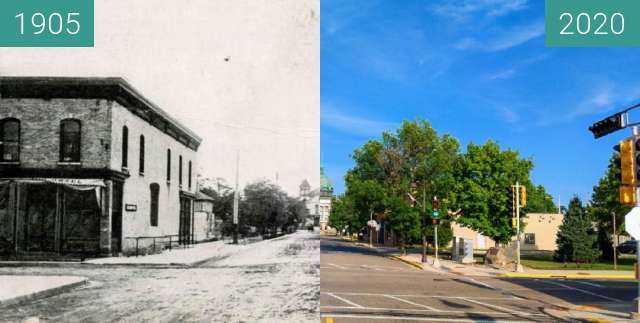 Before-and-after picture of Courthouse at Davenport and Stevens St. between 1905 and 2020