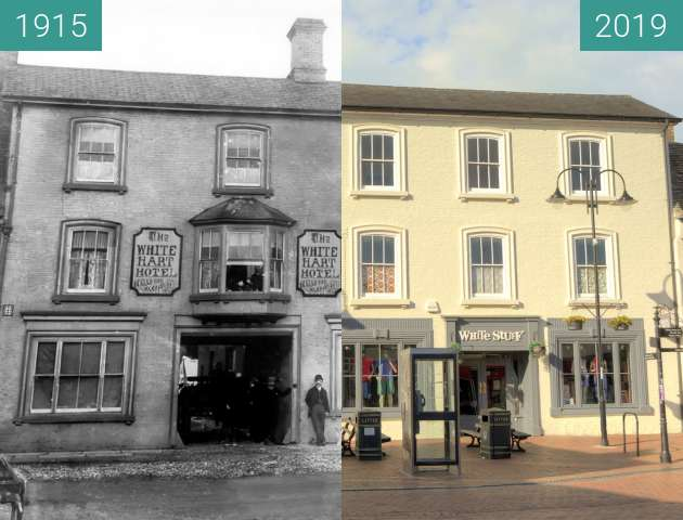 Before-and-after picture of The White Hart Hotel between 1915 and 2019-Jun-20