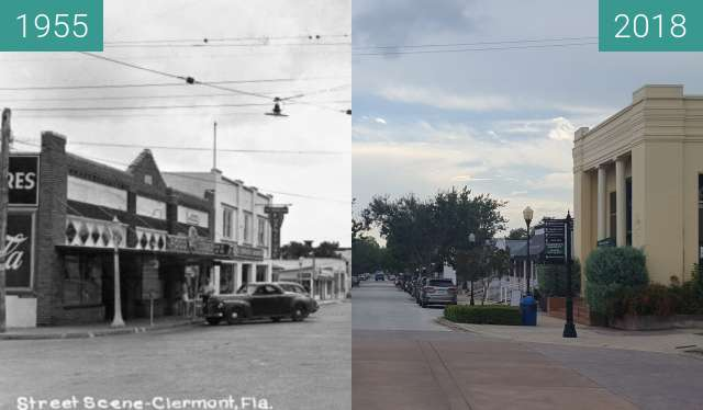 Before-and-after picture of Montrose Street and 7th Street, Clermont, FL between 1955 and 2018-Aug-14