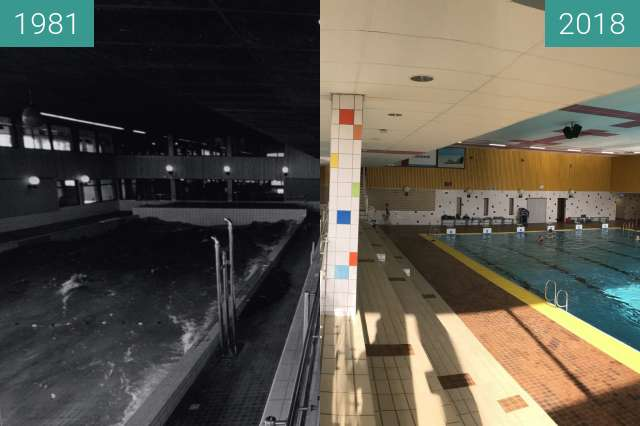 Before-and-after picture of Swimming Pool Hoornse Vaart in Alkmaar between 03/1981 and 2018-Mar-29