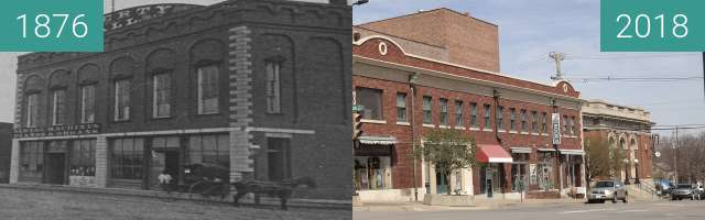 Before-and-after picture of Liberty Hall between 1876 and 2018-Apr-17