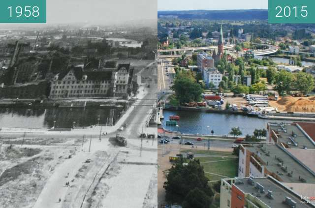 Before-and-after picture of Nabrzeże Wieleckie between 1958 and 2015