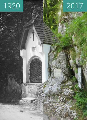 """Before-and-after picture of Kapelle """"Maria an der Ketten"""" Aschau im Chiemgau between 1920 and 2017-Jun-03"""