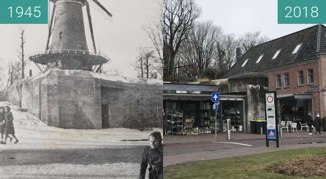 Before-and-after picture of Old bunker Alkmaar Flower shop between 1945 and 2018-Mar-22
