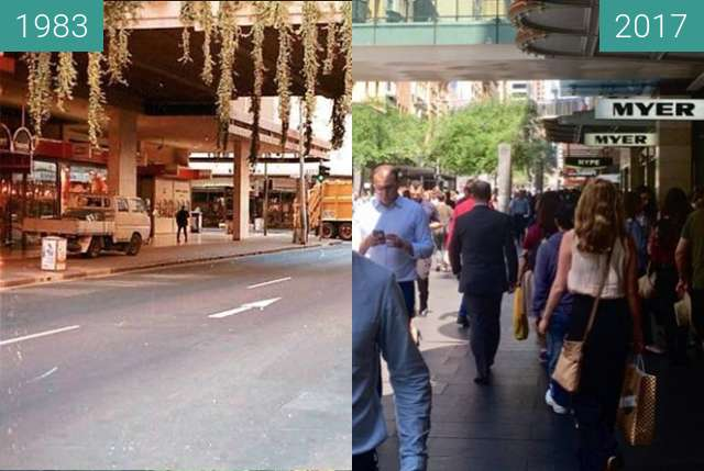 Before-and-after picture of Pitt Street, Sydney between 1983 and 2017