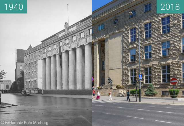 Before-and-after picture of Aleja Niepodległości between 1940 and 2018