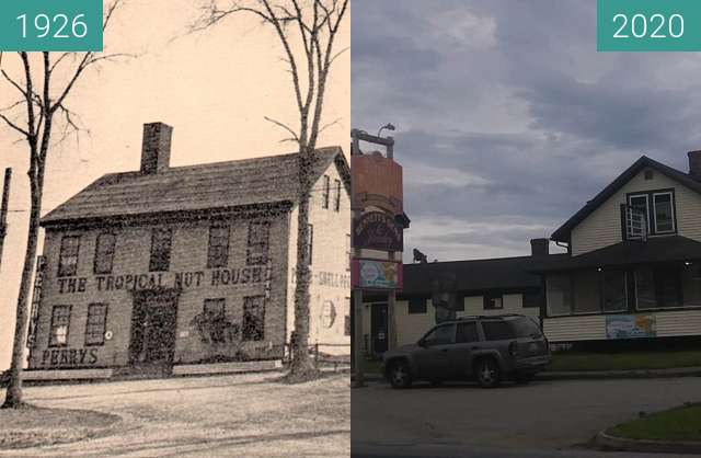 Before-and-after picture of Perry's Tropical Nut House between 1926 and 2020-Jul-22