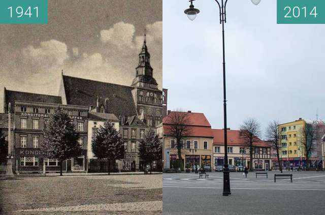 Before-and-after picture of Gryfice, Plac Zwycięstwa between 1941 and 2014