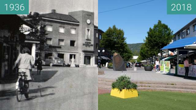 "Before-and-after picture of ""Asker Sparebank"" 1936, Asker, Norway. between 1936 and 2018-Aug-04"