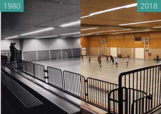 "Before-and-after picture of Gym ""Hoornse Vaart"" in the city Alkmaar between 1980-Nov-25 and 2018-Mar-29"