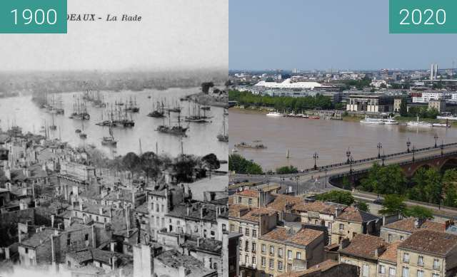 Before-and-after picture of Bordeaux panorama between 1900 and 07/2020