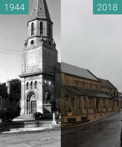 Before-and-after picture of Creully - Normandy 1944 between 06/1944 and 2018-May-01