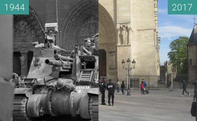 Before-and-after picture of Notre-Dame (Liberation of Paris) between 1944-Aug-26 and 2017-Mar-29