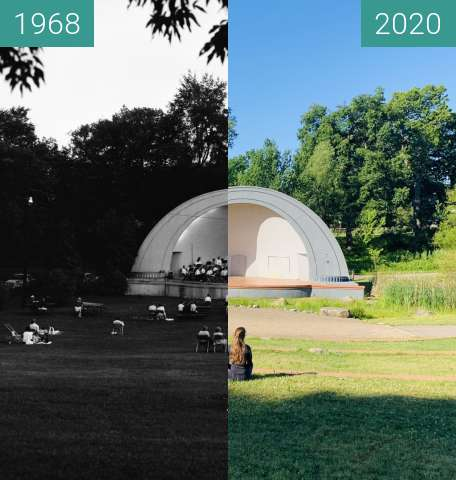 Before-and-after picture of West Park auditorium between 1968 and 2020-Jun-15