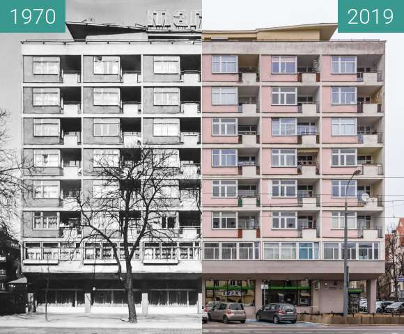 Before-and-after picture of Ulica Zwierzyniecka, Marago between 1970 and 2019-Mar-07