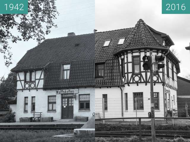 Before-and-after picture of Bahnhof Wulffskotten Hasbergen between 1942 and 2016-Feb-24