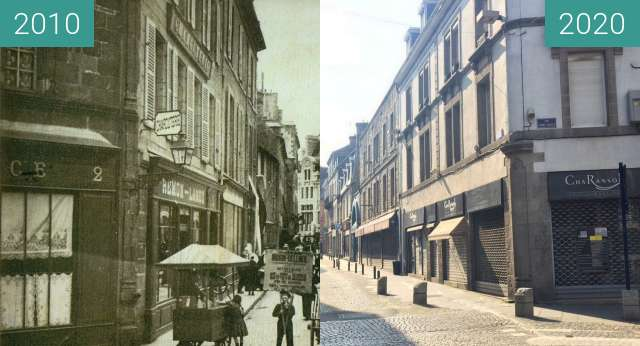 Before-and-after picture of Saint-Brieuc - Rue de Rohan between 1910 and 2020-Oct-18