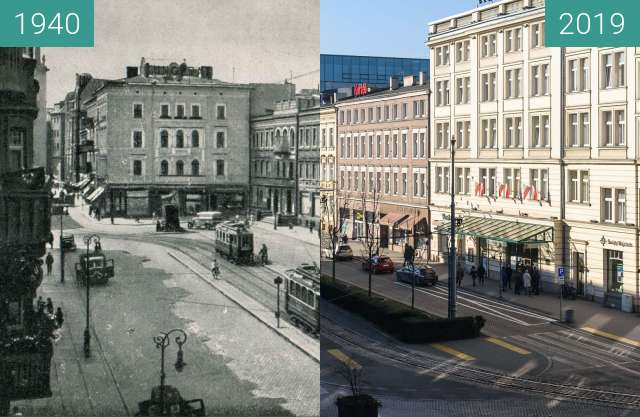 Before-and-after picture of Aleje Marcinkowskiego, hotel Rzymski between 1940 and 2019