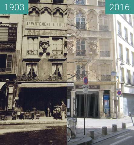 Before-and-after picture of Passage du Caire between 1903 and 2016-Apr-03