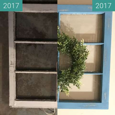 Before-and-after picture of DIY Vintage Window Refurbish between 2017-Nov-23 and 2017-Nov-24
