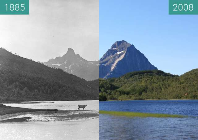 Before-and-after picture of Ågvatnet between 1885 and 2008