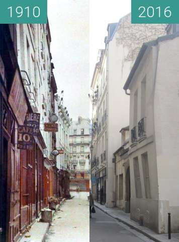 Before-and-after picture of Rue de Bièvre between 1910 and 2016-Mar-14