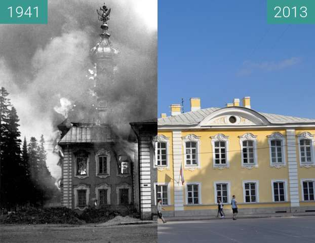 Before-and-after picture of Burning Peterhof between 09/1941 and 09/2013