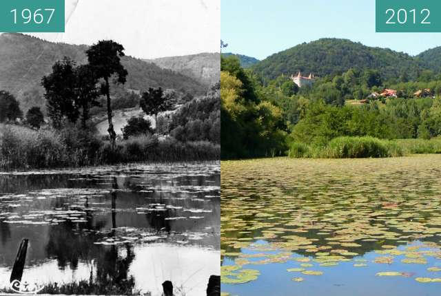 Before-and-after picture of Le Chateau depuis l'Etang between 1967 and 2012