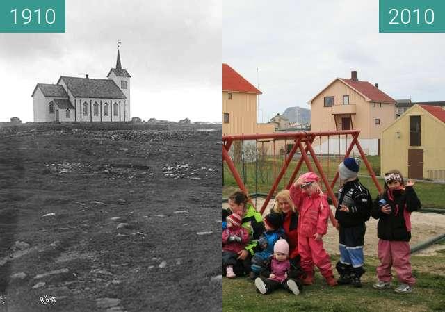 Vorher-Nachher-Bild von Røstlandet zwischen 1910 und 2010