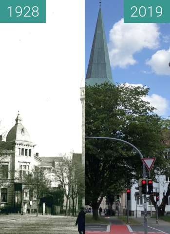 Before-and-after picture of Katharinenkirche between 1928 and 2019-May-29