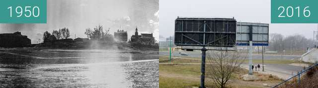 Before-and-after picture of Śródka between 1950 and 2016