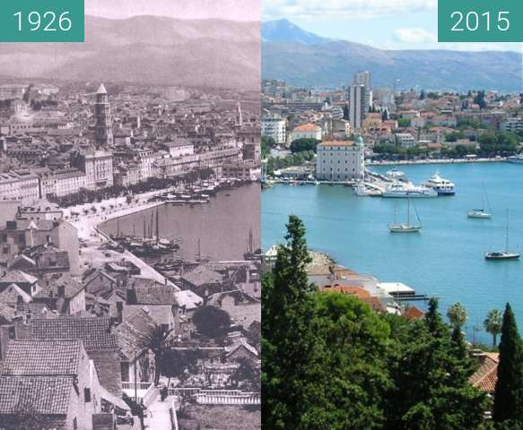 Before-and-after picture of Split - Then and Now between 1926 and 2015