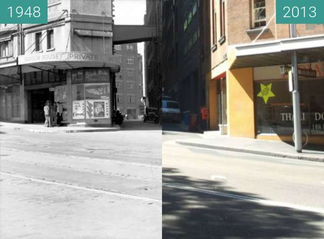 Before-and-after picture of Cnr of Elizabeth Street and Foy Lane, Surry Hils between 1948 and 2013