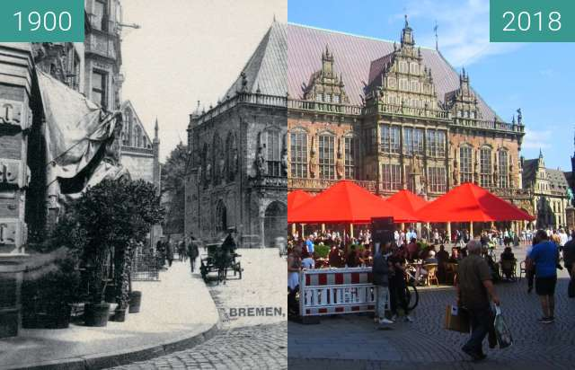 Before-and-after picture of Bremen Town Hall between 1900 and 2018-Aug-18