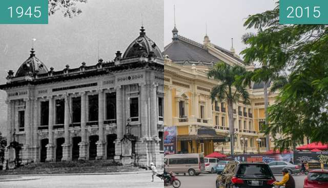 Before-and-after picture of Opera Hanoi between 1945 and 2015-Dec-11