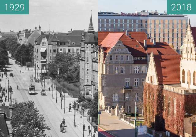 Before-and-after picture of Ulica Św. Marcin/Kaponiera/Zwierzyniecka between 1929 and 2018
