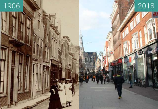 Before-and-after picture of Langestraat Alkmaar between 1906 and 2018-Feb-27