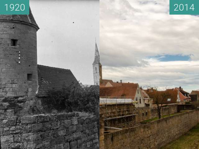 Before-and-after picture of Wolframs-Eschenbach - Stadtgraben between 1920 and 2014-Feb-07