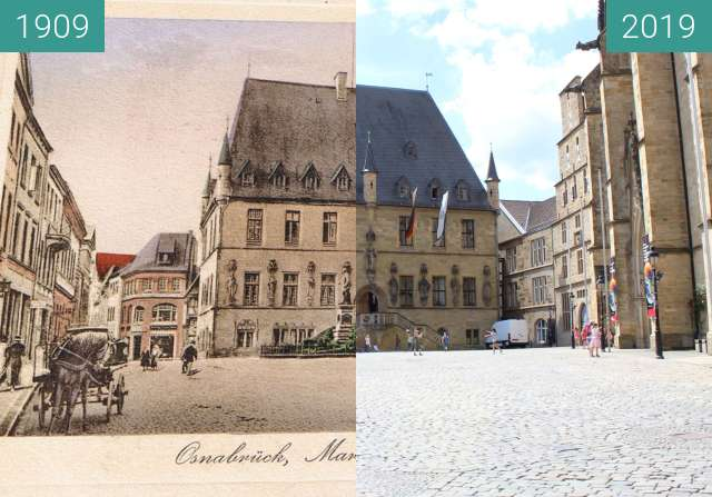 Before-and-after picture of Osnabrücker Rathaus 1909 between 1909 and 2019-Jun-16