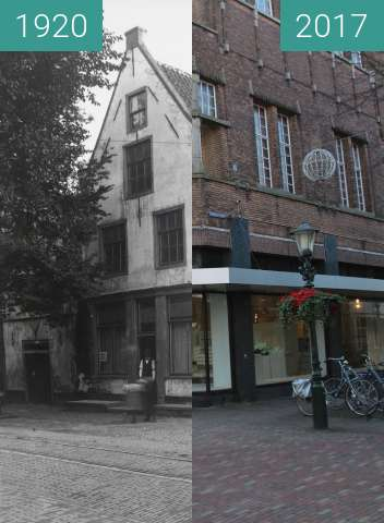 Before-and-after picture of Corner Laat/Ridderstraat between 1920 and 2017-Feb-21