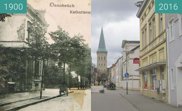 Before-and-after picture of Katharinenstraße between 1900 and 2016-Feb-07