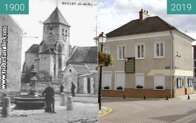 Before-and-after picture of Ancienne mairie et église Baillet-en-France between 1900 and 2019-Oct-19