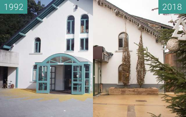 Before-and-after picture of Main Building Center Parks, Ardennen, Belgium between 1992-Sep-25 and 2018-Jan-11