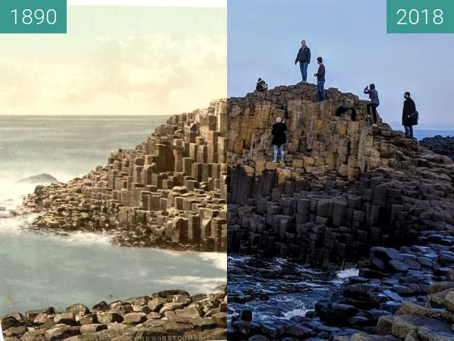 Before-and-after picture of The Honeycomb of Giant's Causeway between 1890 and 2018-Mar-11