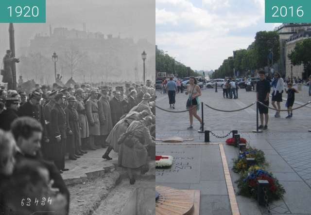 Before-and-after picture of Tomb of the Unknown Soldier between 1920 and 2016-Jun-25