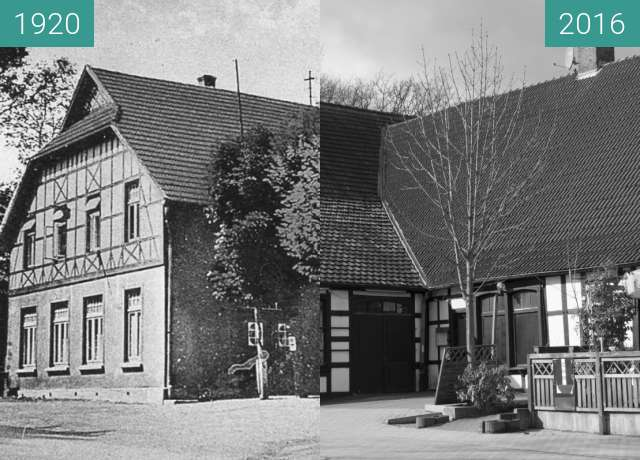 Before-and-after picture of Gaststätte Wulff an der Osnabrücker Straße between 1920 and 2016-Feb-24