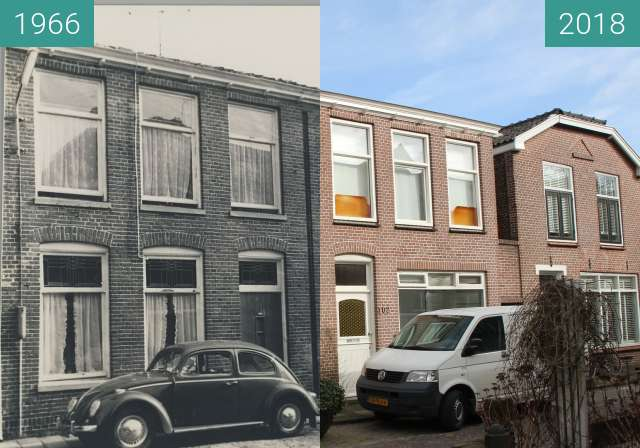 Before-and-after picture of Stuartstraat Alkmaar between 1966 and 2018-Feb-27