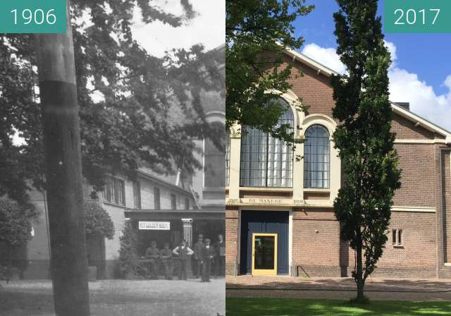 Before-and-after picture of Manege, Leeuwarden between 1906 and 2017-Jul-12