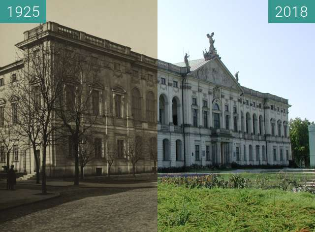 Before-and-after picture of Krasińskich Palace in Warsaw between 1925 and 2018