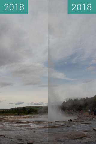 Before-and-after picture of Strokkur Geyser Erupting between 2018-Jul-28 and 2018-Jul-28